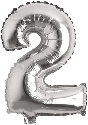 """Picture of 16"""" Silver Foil Balloon -  Number 2 (air-filled)"""