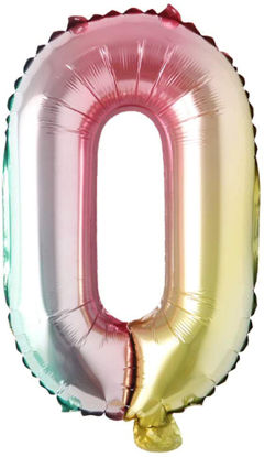 """Picture of 16"""" Foil Balloon -  Rainbow Number 0 (air-filled)"""