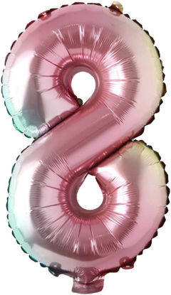 """Picture of 16"""" Foil Balloon -  Rainbow Number 8 (air-filled)"""