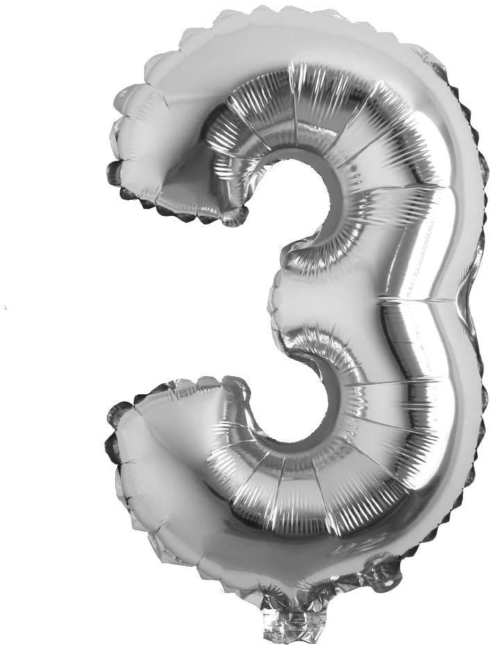 """Picture of 16"""" Silver Foil Balloon -  Number 3 (air-filled)"""