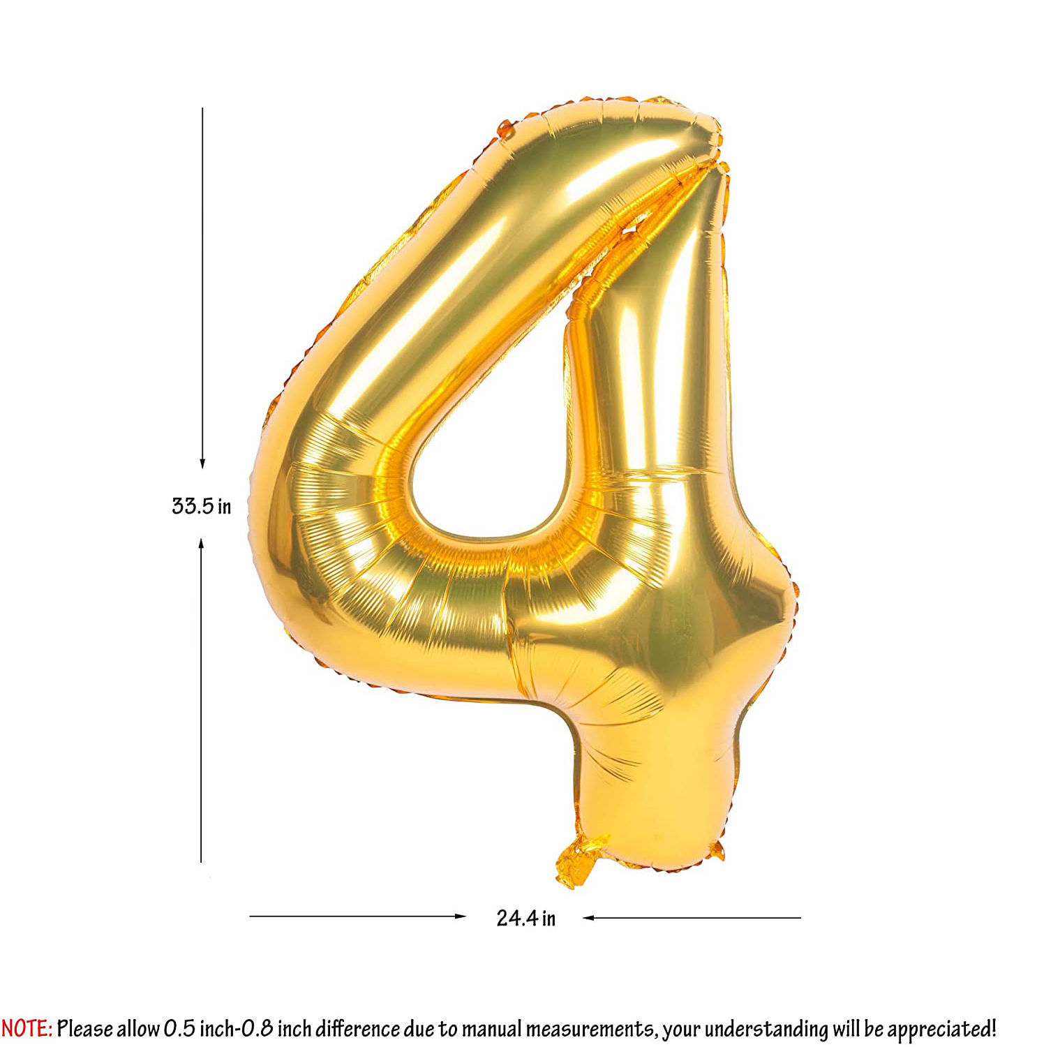Picture of 34'' Foil Balloon Number 4 - Gold (helium-filled)