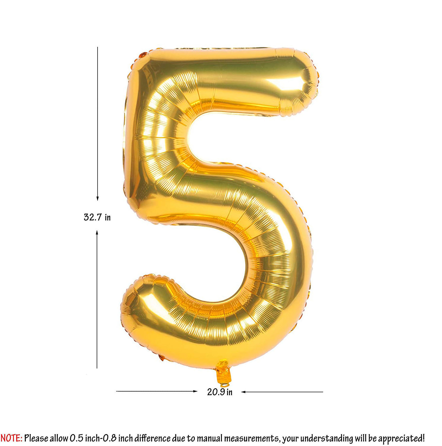Picture of 34'' Foil Balloon Number 5 - Gold (helium-filled)