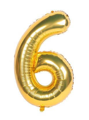 Picture of 34'' Foil Balloon Number 6 - Gold (helium-filled)