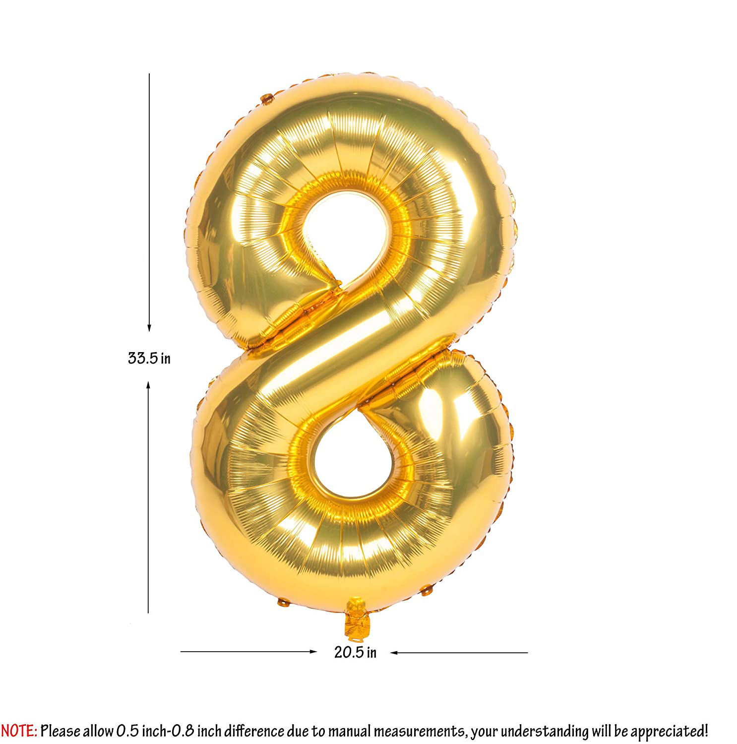 Picture of 34'' Foil Balloon Number 8 - Gold (helium-filled)