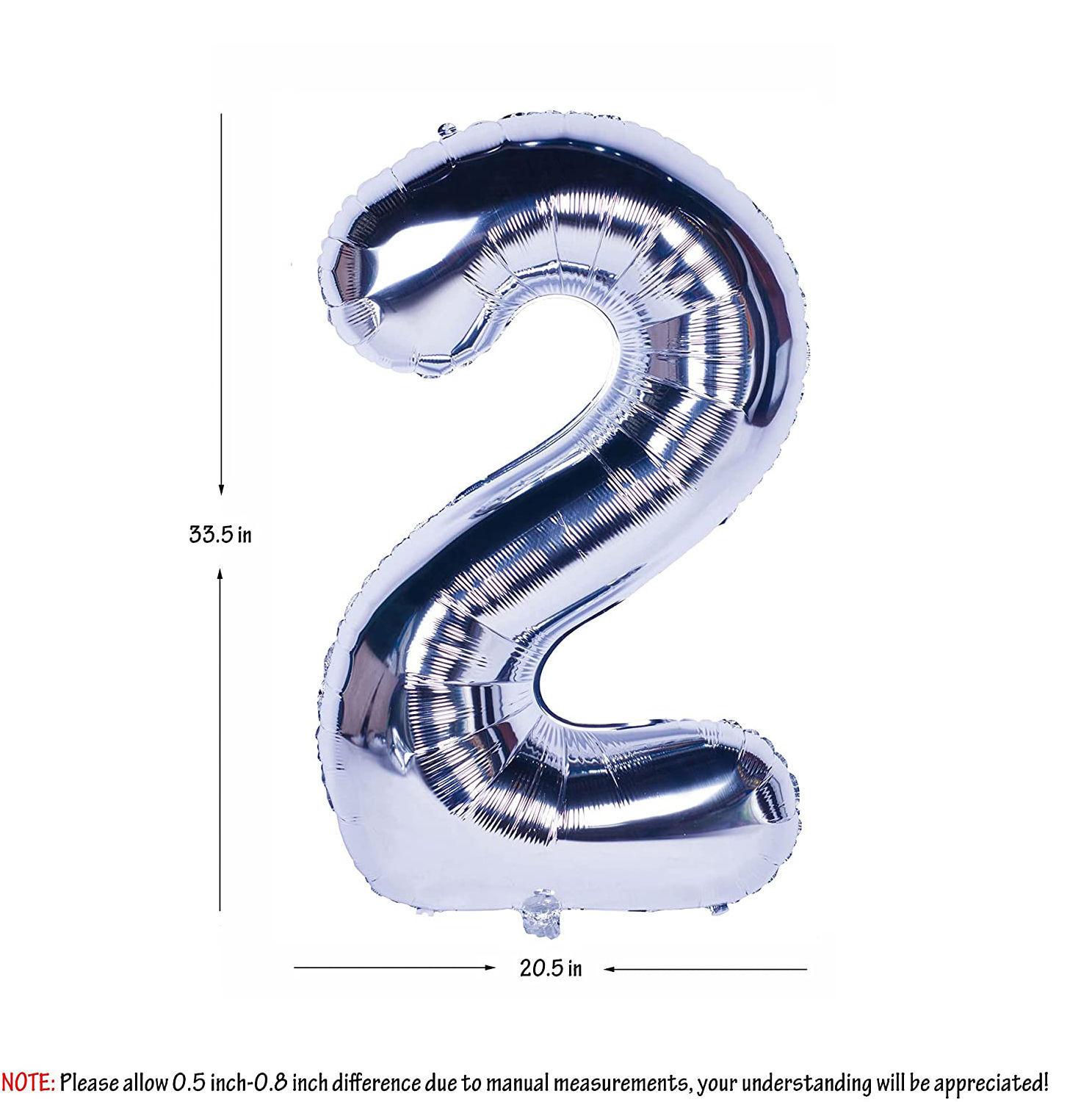 Picture of 34'' Foil Balloon Number 2 - Silver (helium-filled)