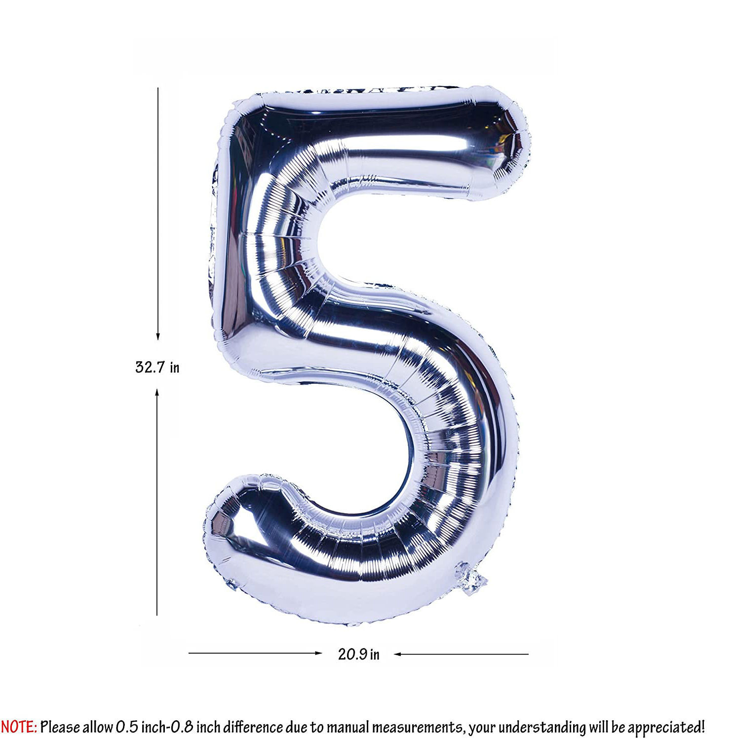 Picture of 34'' Foil Balloon Number 5 - Silver (helium-filled)