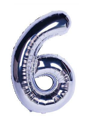 Picture of 34'' Foil Balloon Number 6 - Silver (helium-filled)