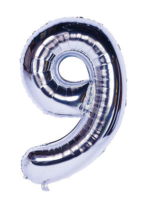 Picture of 34'' Foil Balloon Number 9 - Silver (helium-filled)