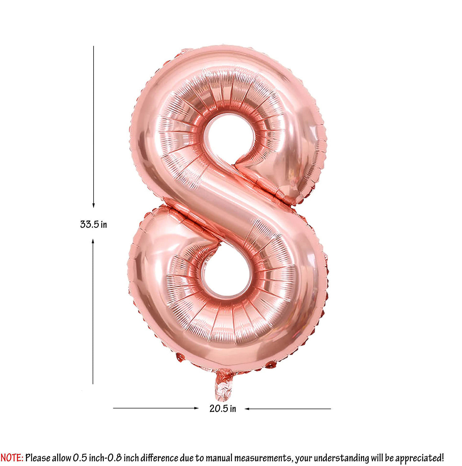 Picture of 34'' Foil Balloon Number 8 - Rose Gold (helium-filled)