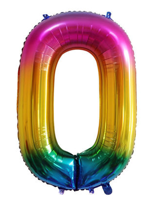 Picture of 34'' Foil Balloon Number 0 - Bright Rainbow (helium-filled)