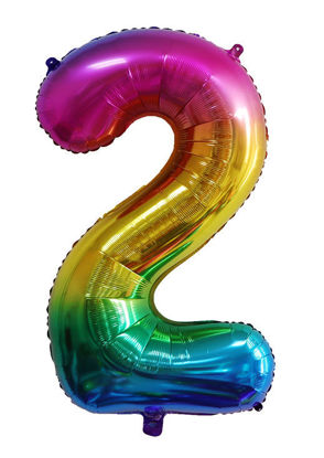 Picture of 34'' Foil Balloon Number 2 - Bright Rainbow (helium-filled)