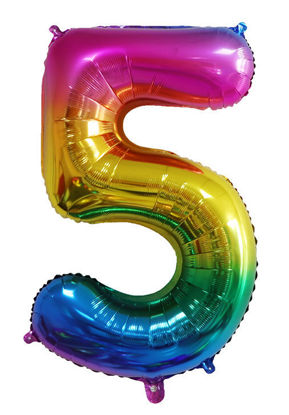 Picture of 34'' Foil Balloon Number 5 - Bright Rainbow (helium-filled)