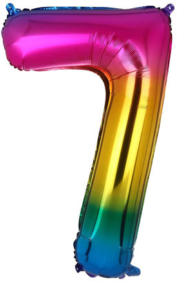 Picture of 34'' Foil Balloon Number 7 - Bright Rainbow (helium-filled)