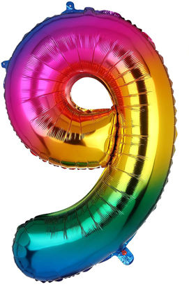 Picture of 34'' Foil Balloon Number 9 - Bright Rainbow (helium-filled)