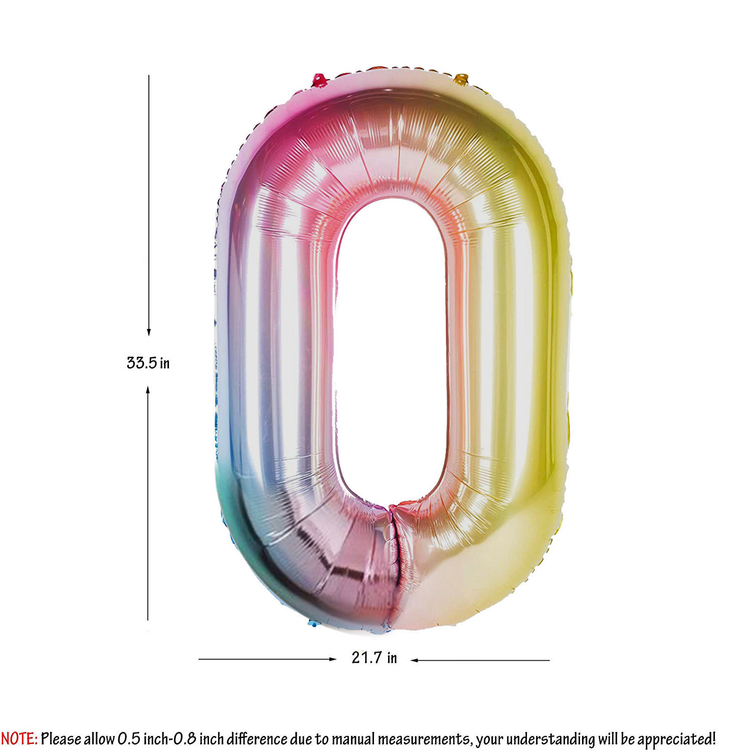 Picture of 34'' Foil Balloon Number 0 - Pastel Rainbow (helium-filled)