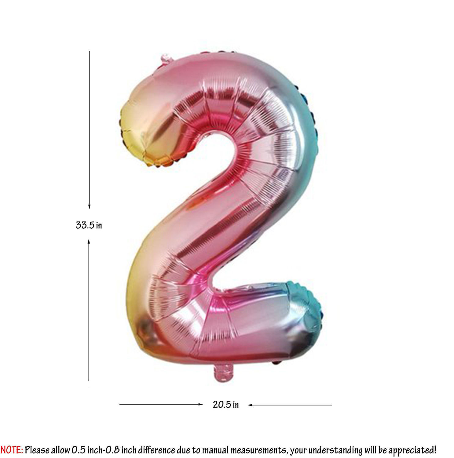 Picture of 34'' Foil Balloon Number 2 - Pastel Rainbow (helium-filled)