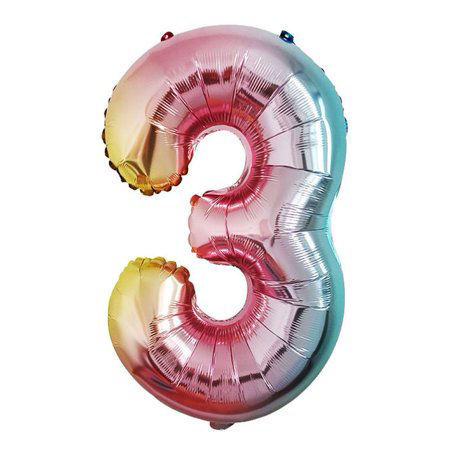 Picture of 34'' Foil Balloon Number 3 - Pastel Rainbow (helium-filled)