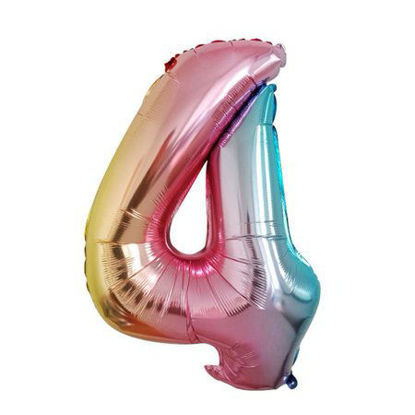 Picture of 34'' Foil Balloon Number 4 - Pastel Rainbow (helium-filled)