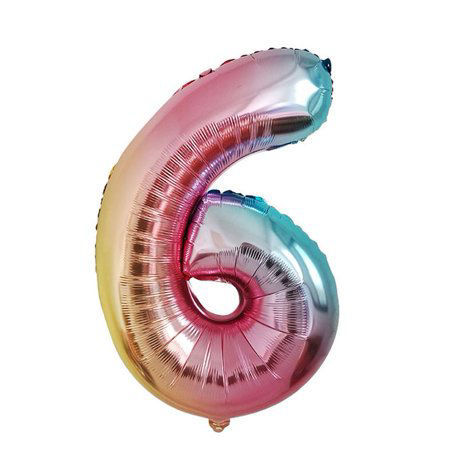Picture of 34'' Foil Balloon Number 6 - Pastel Rainbow (helium-filled)
