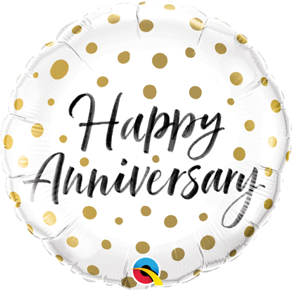 """Picture of 18"""" Happy Anniversary Gold Dots Foil Balloon (helium-filled)"""