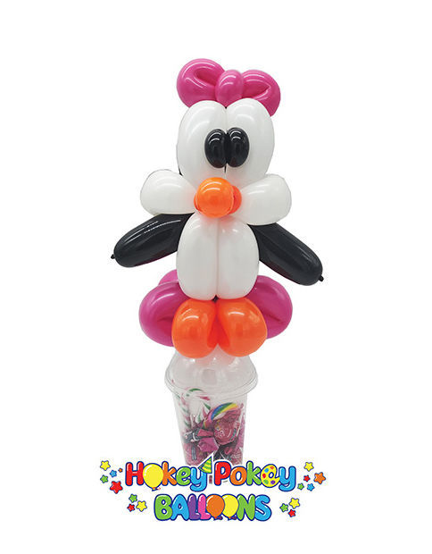 Picture of Penguin with Bow - Balloon Candy Cup