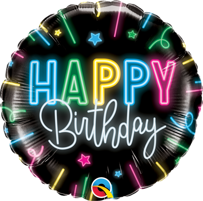 Picture of 18''   Happy Birthday Neon Glow Foil Balloon (helium-filled)