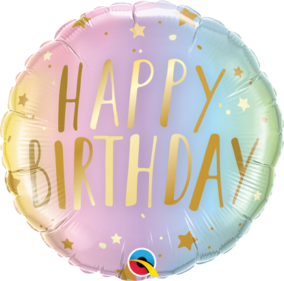 """Picture of 18"""" Birthday Pastel Ombre & Stars Foil Balloon (helium-filled)"""